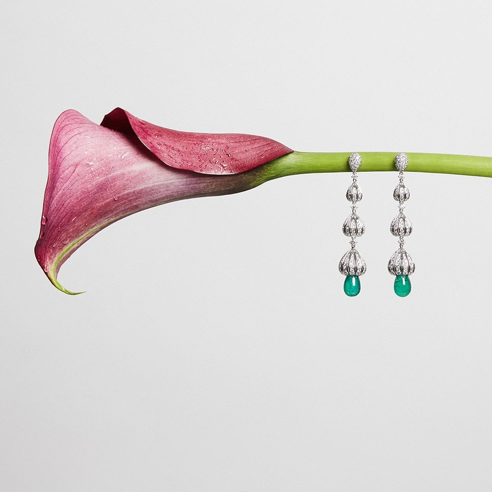 Dangling Emerald Briolette Earrings Facets Singapore