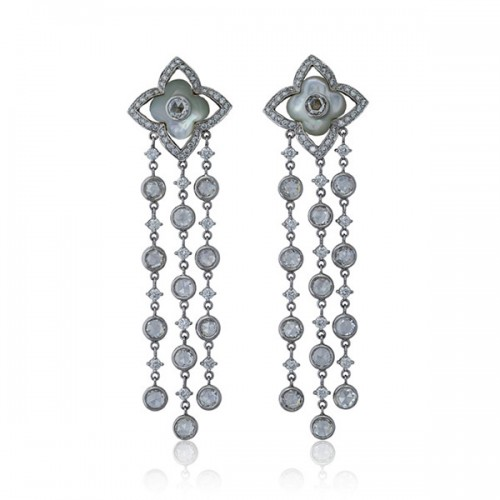 Mother of Pearl Chandelier Earrings with Round and Rose Cut Diamonds   Facets Singapore