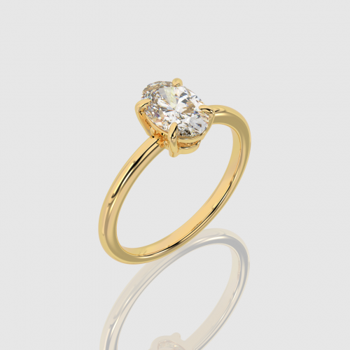Yellow Gold Oval Cut Engagement Ring   Facets Singapore